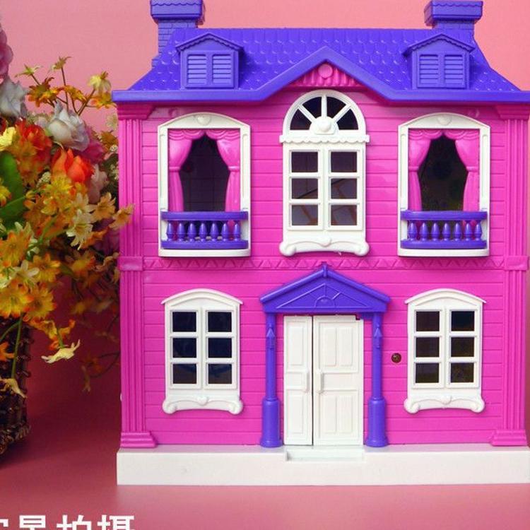 小孩过家家房子别墅场景玩具双层豪华紫色别墅带灯光音乐