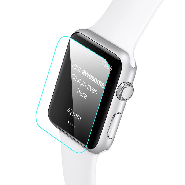适用于苹果智能手表高清保护贴膜 Apple watch弧边钢化玻璃膜