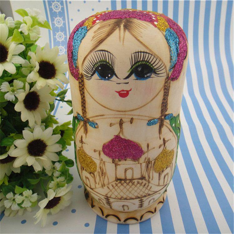 供应批发木质六套娃娃套娃 木制景区热卖旅游工艺品娃娃