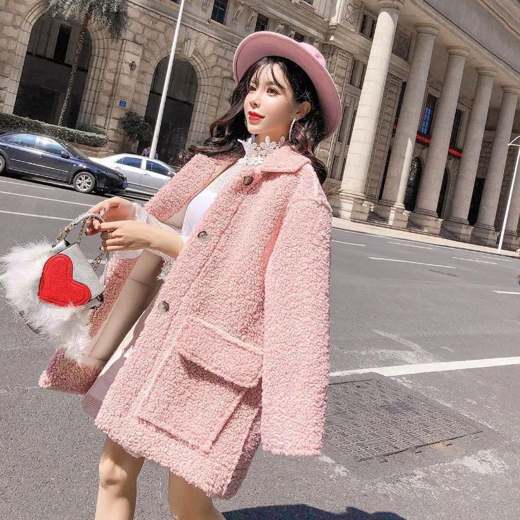实拍现货风衣chic羊羔毛外套女 新款加厚加绒时尚毛绒大衣潮