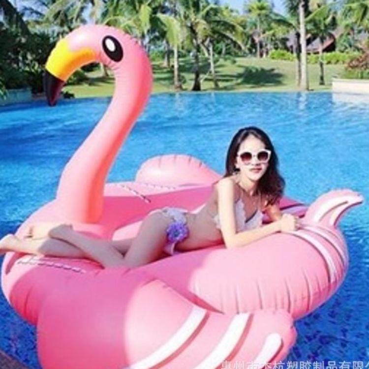厂家现货直销,环保PVC原版150cm充气火烈鸟坐骑火烈鸟浮排游泳圈