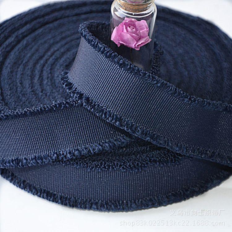 热销流苏织带 平纹织带双排流苏3CM藏青平纹服装辅料流苏