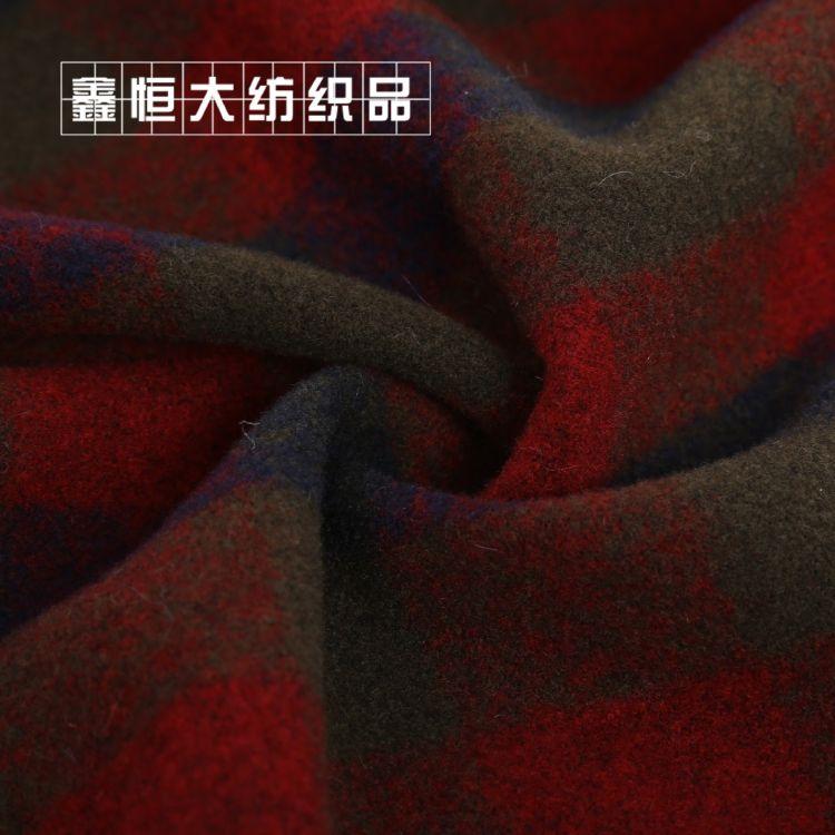 秋冬针织双面呢 高档格子彩色双面呢 精纺格纹毛呢面料