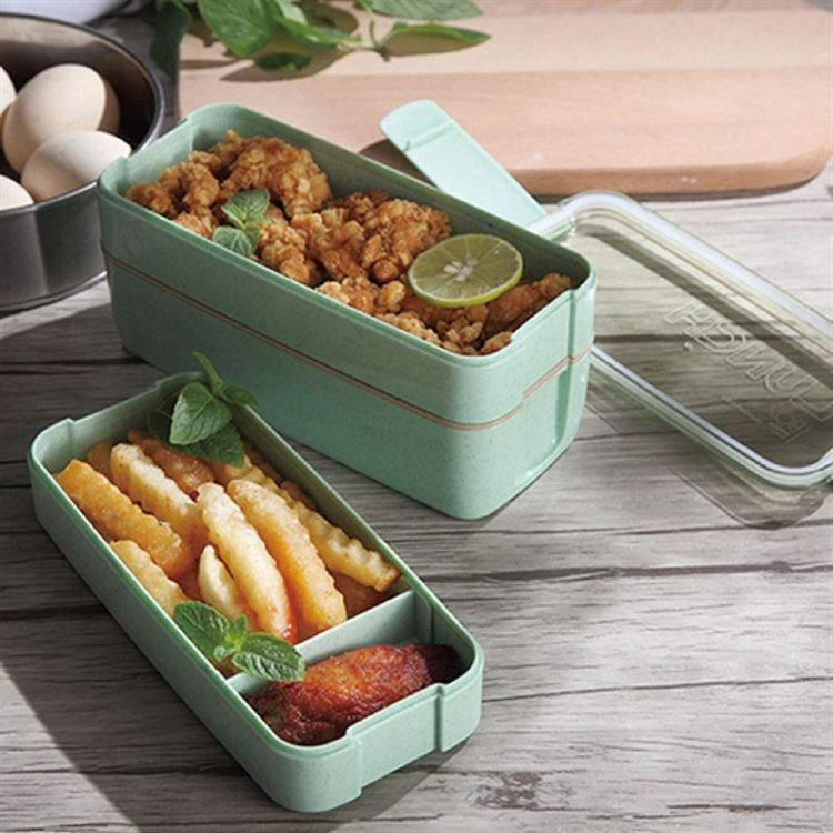 麦秆餐具盒三层便当盒带叉勺微波炉环保餐盒学生露营饭盒定制LOGO