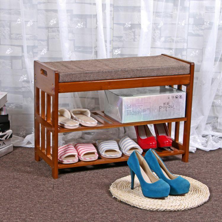 长期供应实木楠竹换鞋凳子鞋柜鞋架带储物抽屉简易组装 赠送软垫