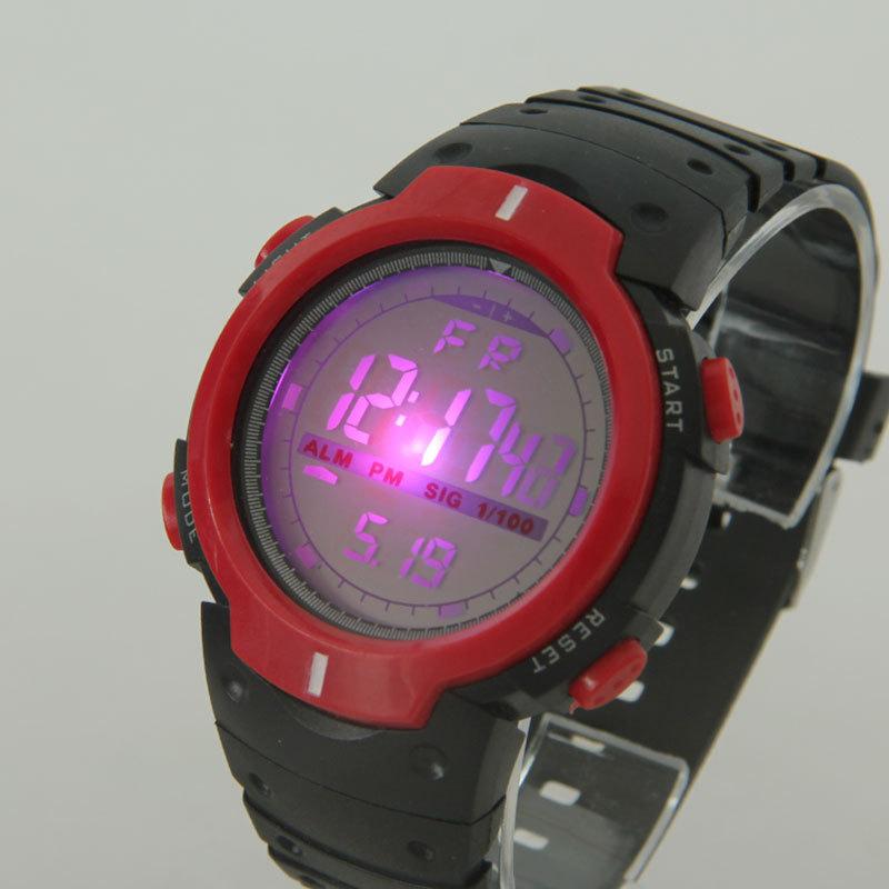 批发透明表带防水运动手表学生户外手表儿童电子手表定制发光手表