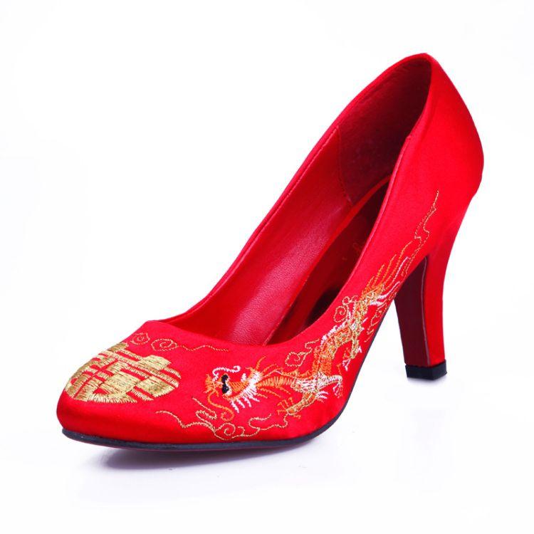 2018新款红色婚鞋绣花高跟鞋刺绣秀禾新娘婚鞋中式婚庆配饰婚礼