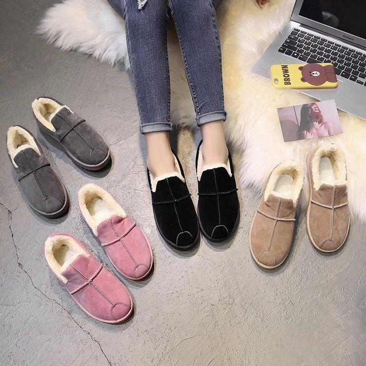 雪地靴女短筒靴冬季懒人平底学生短靴女冬加绒加厚保暖棉鞋面包鞋