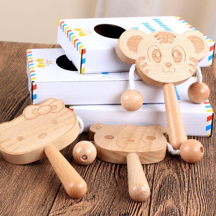 高档榉木婴儿摇摇拨浪鼓双面动物卡通哄逗宝宝益智乐器手摇鼓礼物