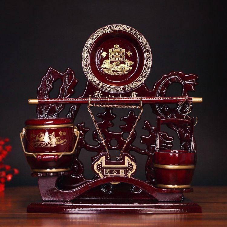 复古红木色子孙桶套装六件套婚庆结婚马桶同心锁宝桶嫁妆摆件大号