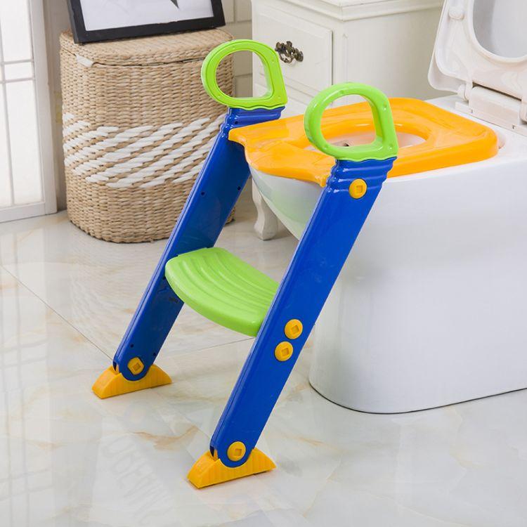 儿童折叠马桶梯 儿童座便器 带踏板坐便器 阶梯式座便器带踏板