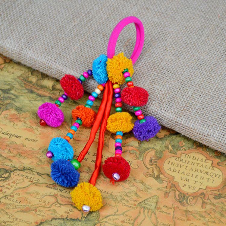 泰國彩色毛球發繩 原創民族風飾品發飾 泰式頭花 旅游紀念品