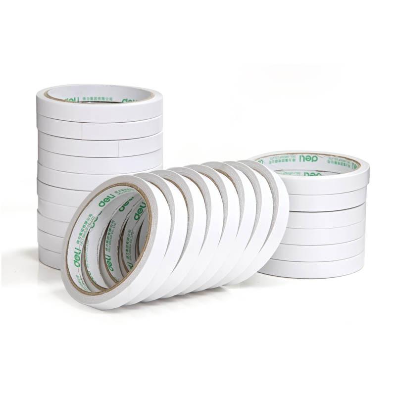 得力30401双面棉纸胶带 棉纸胶 双面胶 12mm*10y 24卷/筒 单卷价