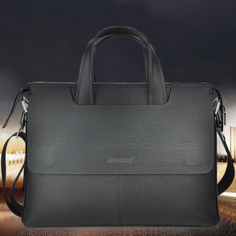 厂家定制斜跨手提包 高端头层牛皮男士商务公文包 大容量休闲单肩包