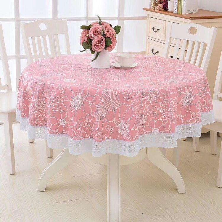 PVC饭店大圆形台布 酒店塑料圆桌布防水防油免洗防烫大圆桌桌布