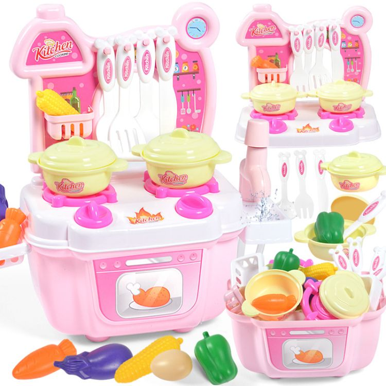 移动厨房套装玩具儿童过家家玩具女孩礼物出水快乐厨房厂家批发
