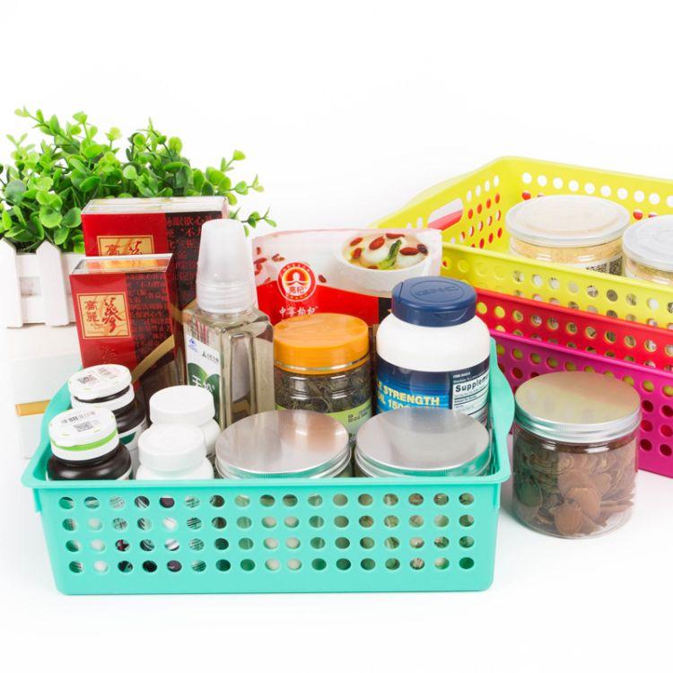 厨房收纳筐 自产自销塑料盒长方形洗漱置物框906塑料框零食篮子环保厂家定制