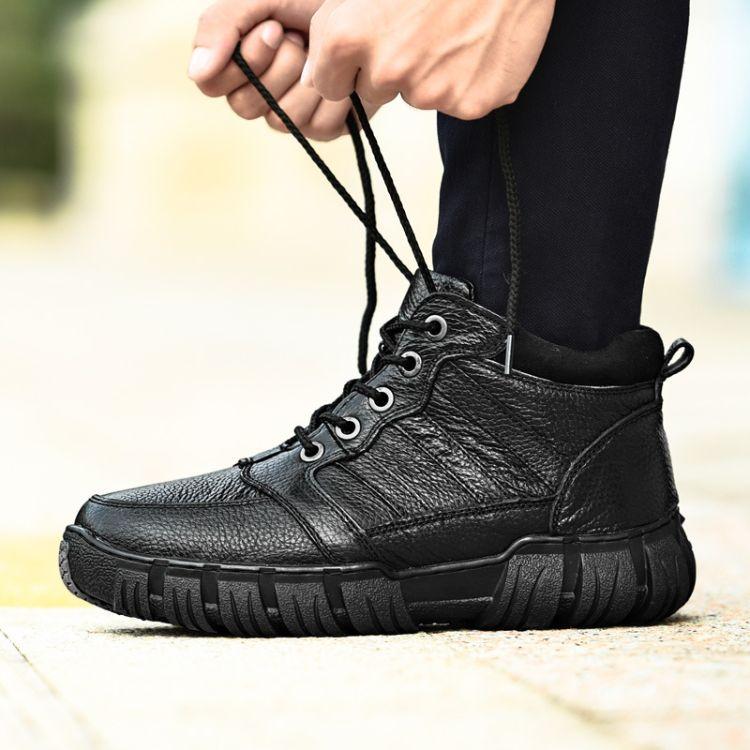 冬季新款耐寒保暖头层真皮系带防水高帮休闲大码棉靴男士加毛棉鞋