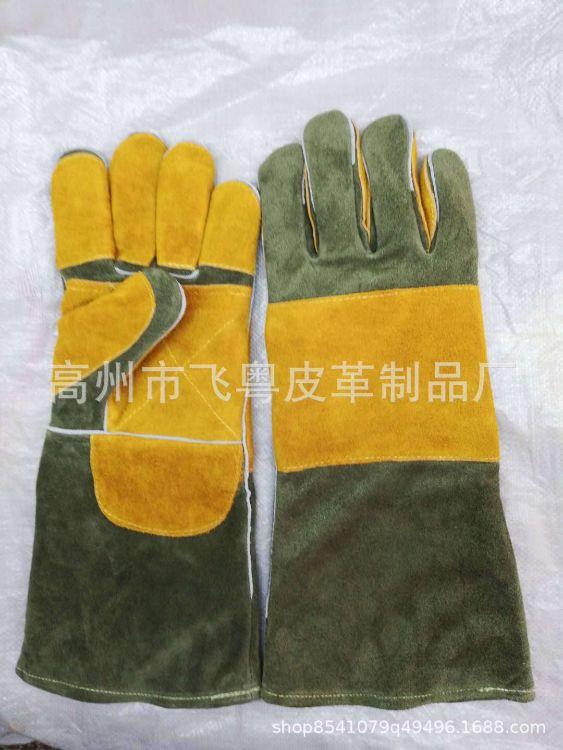 双层加厚皮料16寸电焊皮革手套劳保手套批发耐磨耐高温劳保手批发