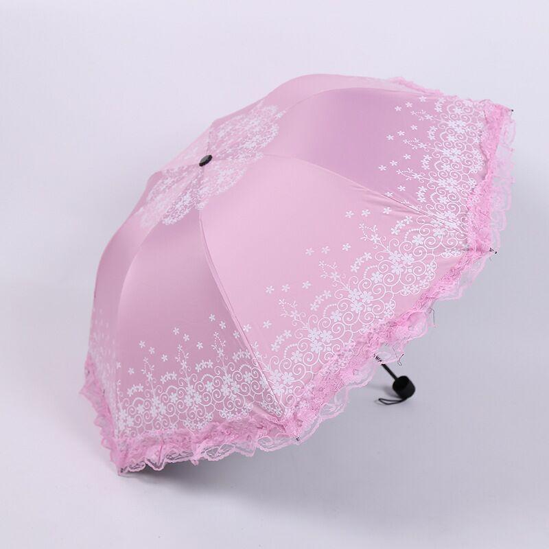 昆明雨伞时尚花边-太阳伞黑胶防紫外线晴雨伞定制-广告伞赠品礼品