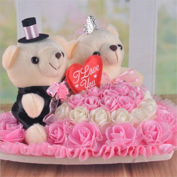 厂家直销婚车车头娃娃韩式爱心车熊婚车装饰双层心形纱花皇冠小熊