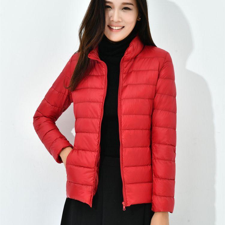2017新款韩版秋冬装修身轻薄显瘦轻便短款立领羽绒服女外套