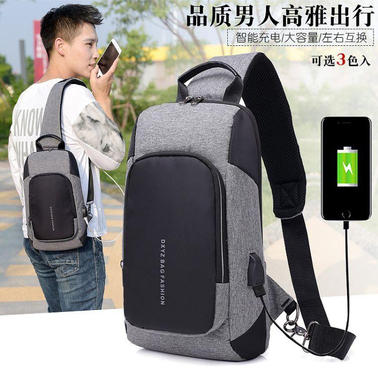 跨境专供新款男士胸包USB充电防盗智能大容量休闲单肩斜挎包批发