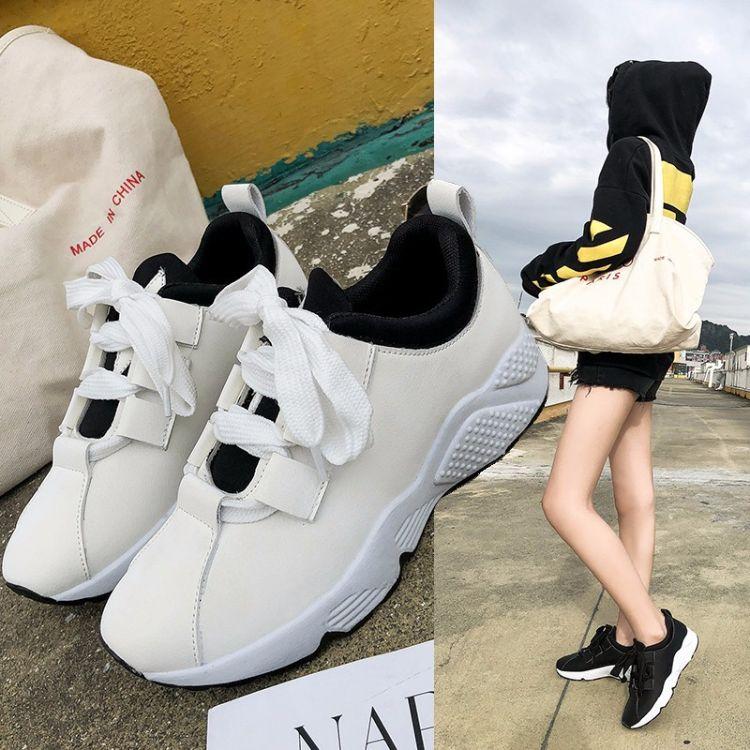 2018冬季新款运动鞋女韩版百搭旅游鞋保暖松糕跟单鞋ins板鞋女