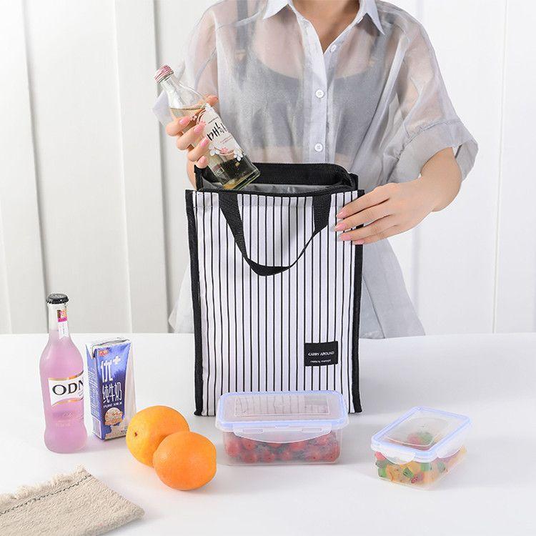 简约条纹日常郊游野餐包便携保温便当包手拎包饭盒袋