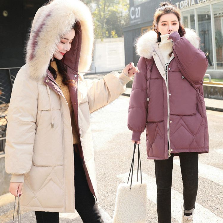 棉衣女中长款2019冬装新款时尚韩版中学生宽松加厚羽绒棉服外套潮女装尾货批发
