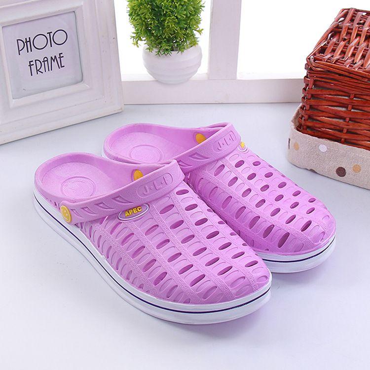 新款夏季男女洞洞鞋情侣凉鞋透气平底凉拖花园鞋小孔防滑凉鞋批发