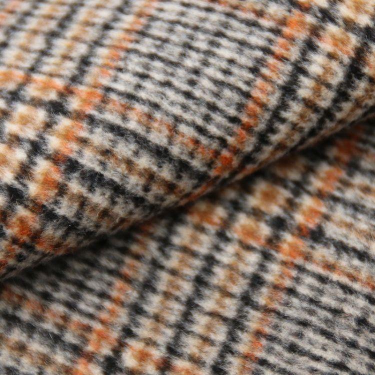 双面羊绒格子 双色双面顺毛面料  双面呢梭织面料 品牌大衣花型