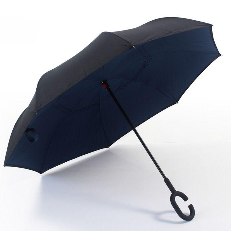 C型免扶持雨伞直杆汽车反向雨伞23寸双层工厂加工销售品牌