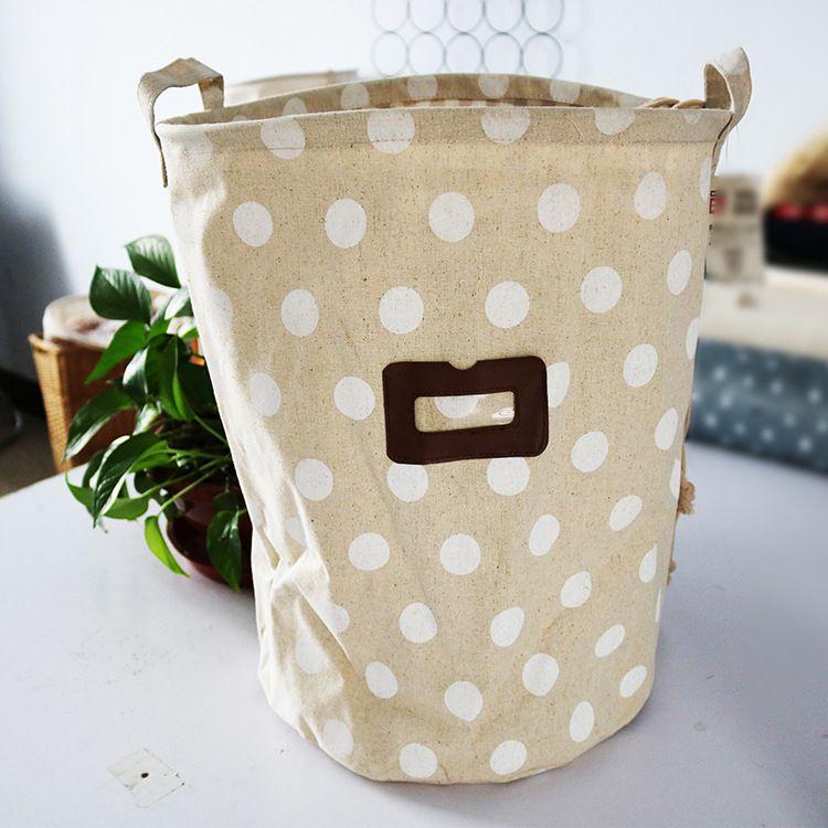 棉麻布艺创意图案收纳桶零食玩具衣服收纳篮大容量背胶防水脏衣篮