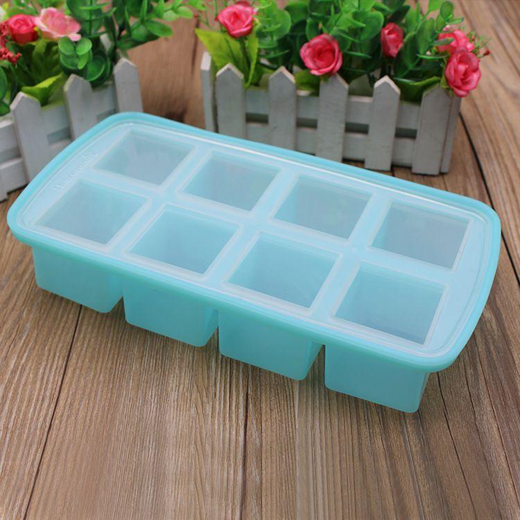 宁波厂家供应硅胶冰格模具带盖子创意家用大冰块模具制冰盒辅食盒