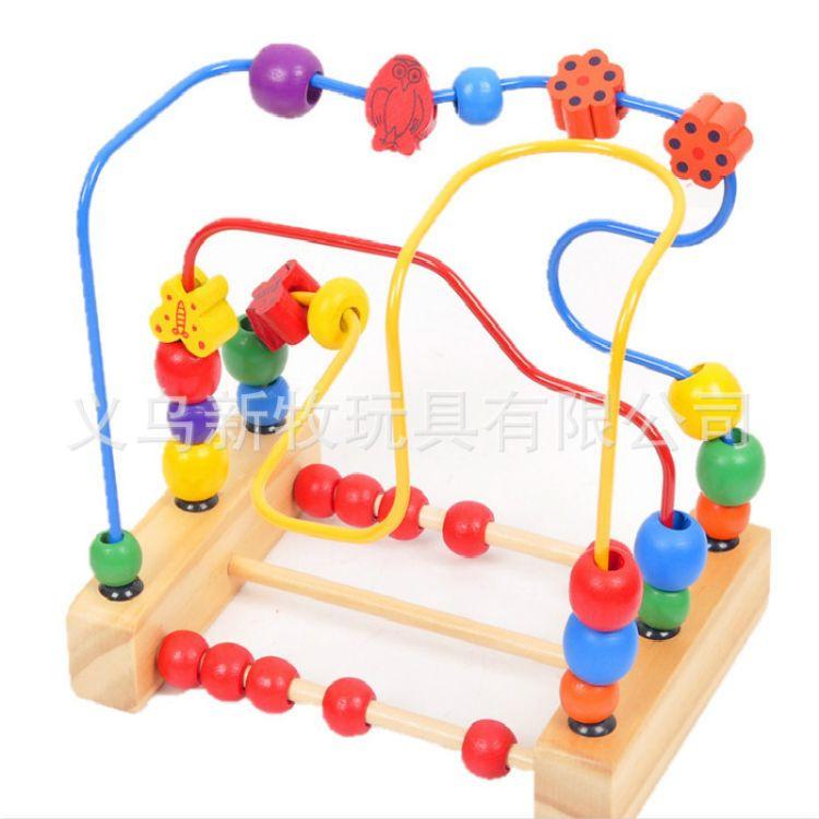 厂家批发 儿童木制玩具 三线花鸟绕珠 宝宝益智早教玩具