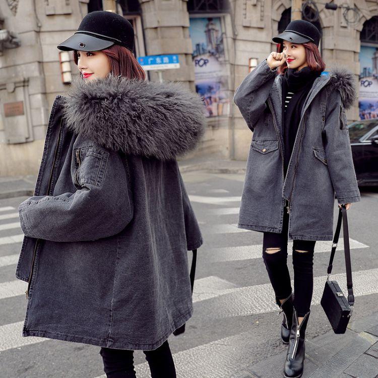 2018冬季新款牛仔棉衣女大毛领中长款宽松大码加厚棉服外套潮灰色