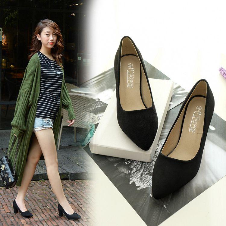 一件代发韩版浅口绒面单鞋舒适粗跟方跟女鞋尖头高跟工作鞋批发价
