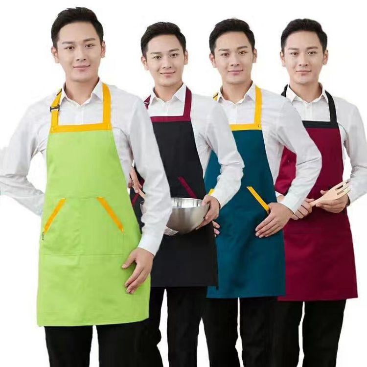 简约餐厅厨房做饭围裙 防水防油污无袖围腰批发 定制logo