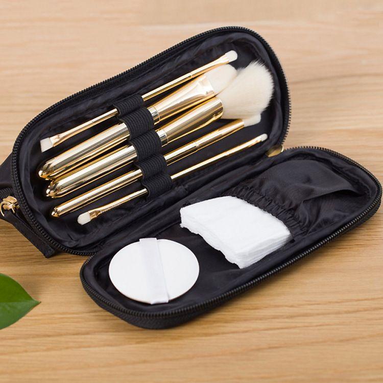 工厂订制两层化妆包 韩版小号黑色便携化妆刷收纳手拿包 分层两用收纳包