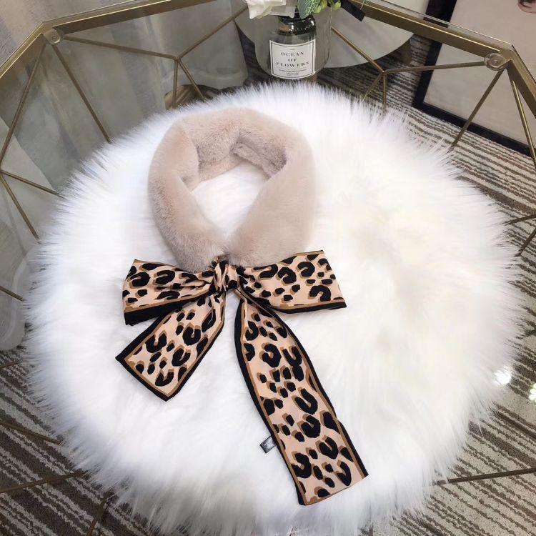 东大门围巾同步豹纹丝带毛绒领巾假领围脖chic装饰兔毛冬季围巾