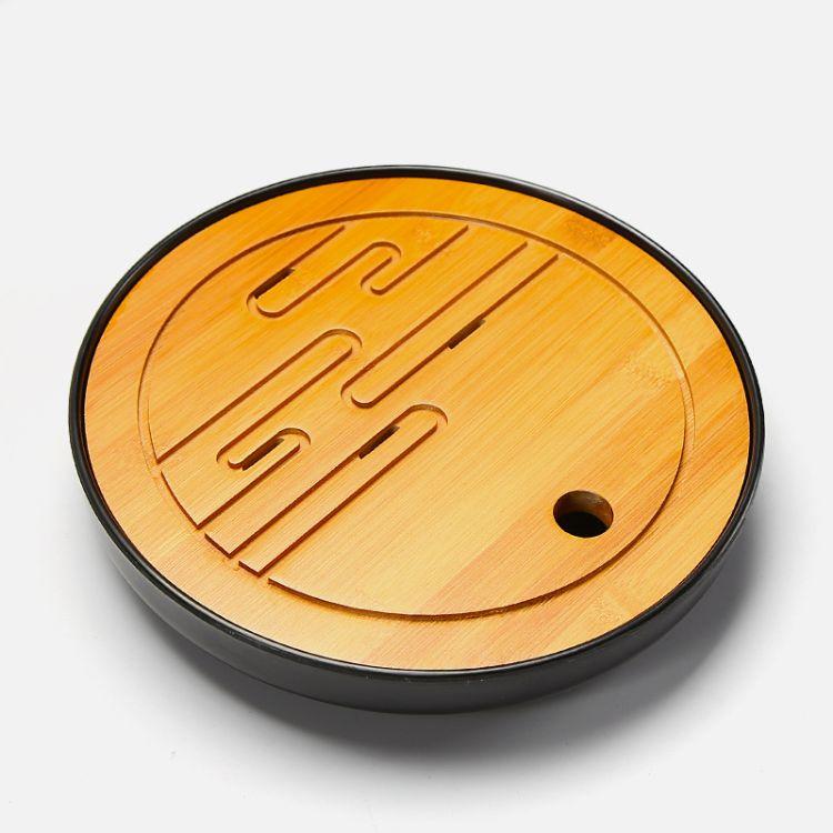祥云圆形黑密胺盘简约干泡茶盘 家用日式储水迷你小茶台 圆形竹托盘