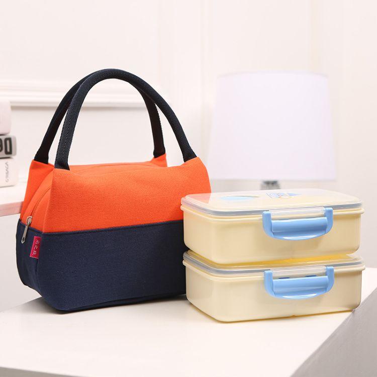 代发拼接饭盒袋 上班族保温餐盒收纳袋 防水帆布饭盒包午餐袋定制