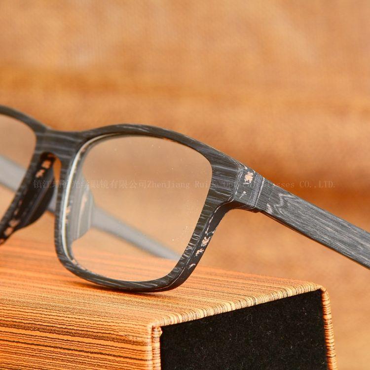 手工仿木纹板材眼睛框架  原木板材架可配近视镜片8807 量大从优