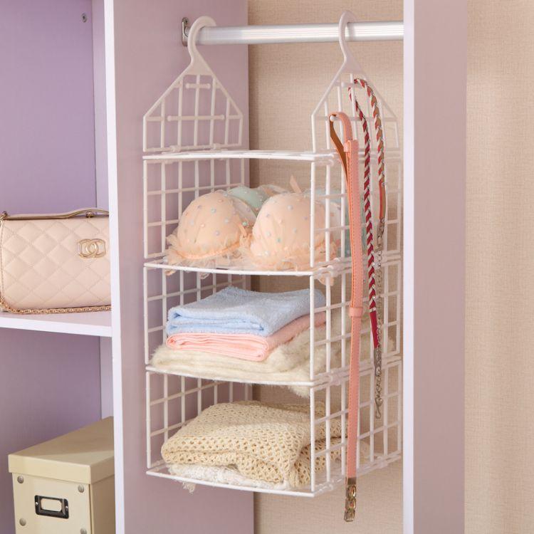 衣柜分层收纳架塑料多层衣物整理架卧室宿舍衣橱衣服挂篮置物架子