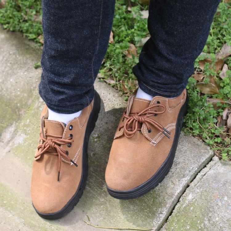 夏季透气劳保鞋牛皮钢头防砸绝缘鞋电工鞋施工男女耐油耐磨安全鞋