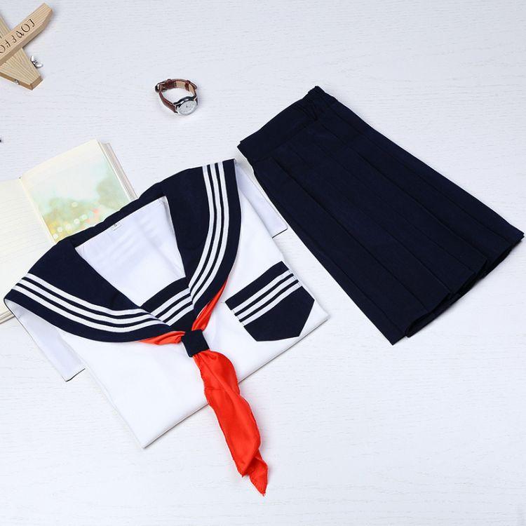 日系高端JK制服 绀色襟白三本水手服 日本关西襟长袖学生装套装