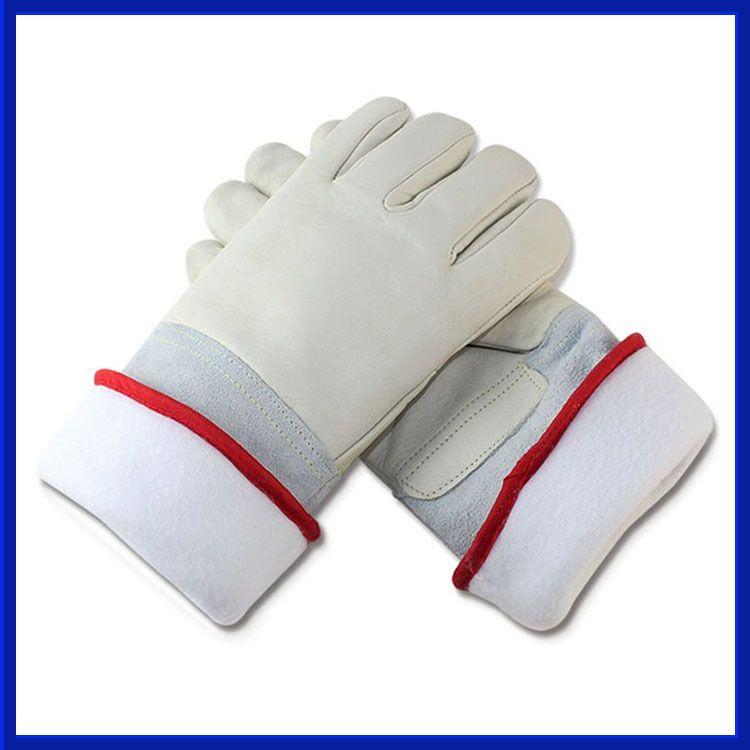 厂家供应防液氮超低温手套 防寒防冻加气站LNG冷库用牛皮手套45cm