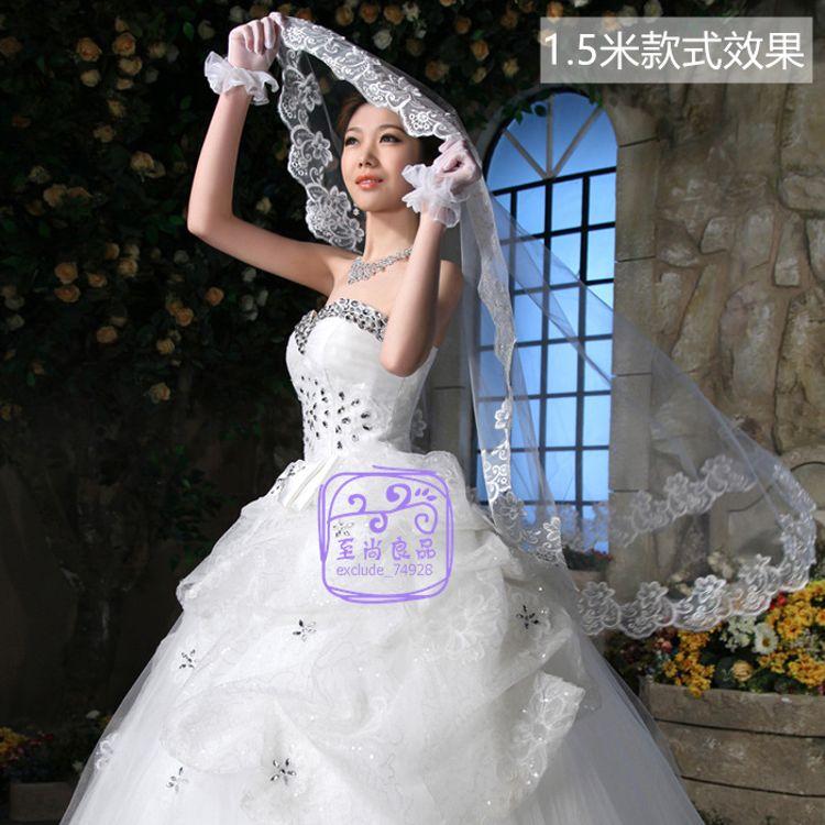 批发新娘头纱美国网电脑绣花T06-3米头纱 长款頭紗 婚纱刺绣蕾丝