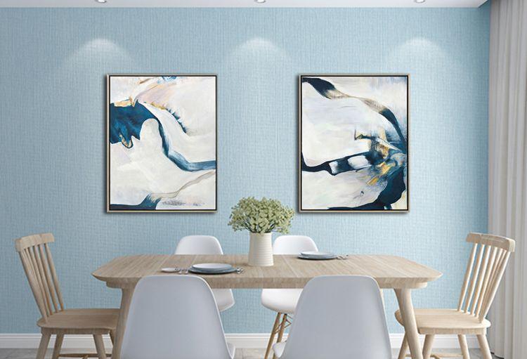 纯手绘蓝景现代简约抽象大气手绘油画客厅沙发背景墙装饰画
